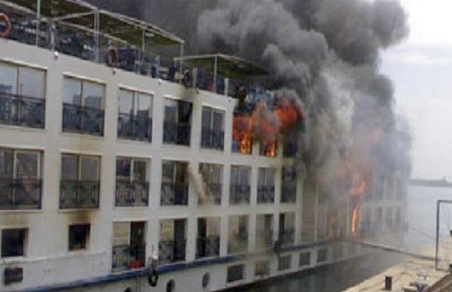 الحماية المدنية تسيطر على حريق بمركب عائمة بكورنيش النيل بالجيزة